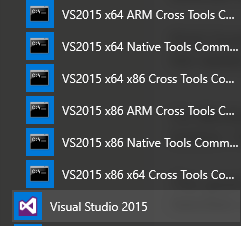 Visual Studio command prompts in start menu